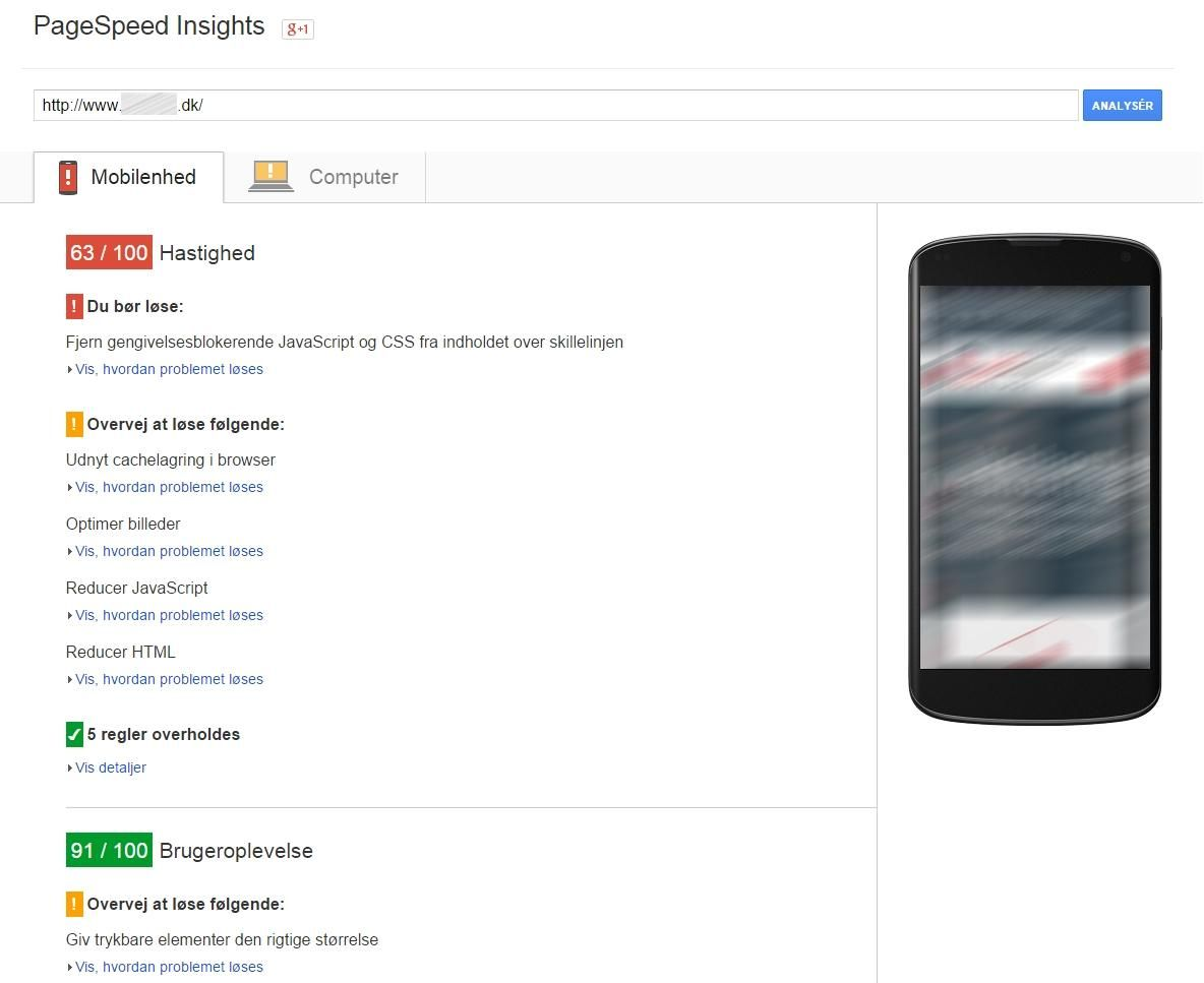 pagespeed mobil